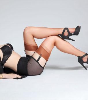 ULLA, Miederstrumpfhalter, Mieder in Schwarz mit Muster, Model