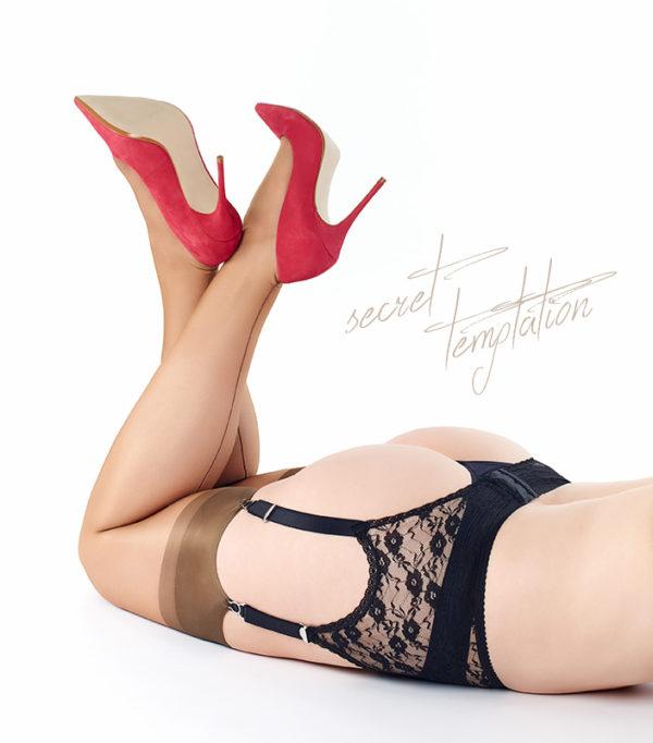 Secret Temptation, Strumpfhalter, 6 Strapsbänder, schwarz mit Spitze, Imagebild