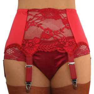 Red six strap suspender belt with matching red lace