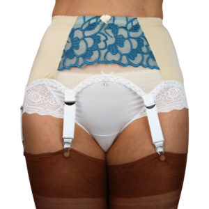 Ivory 6 strap Suspender belt with teal blue lace and white trimming with white straps